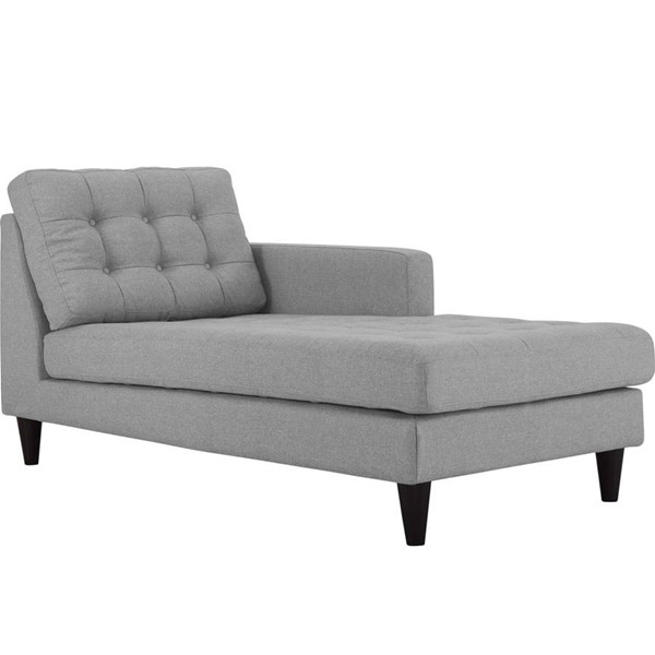 Modway Furniture Empress Light Gray Right Arm Upholstered Chaise EEI-2597-LGR