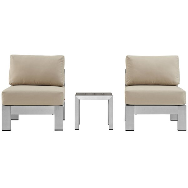 Modway Furniture Shore Silver Beige 3pc Outdoor Set with Armless Chair EEI-2598-SLV-BEI