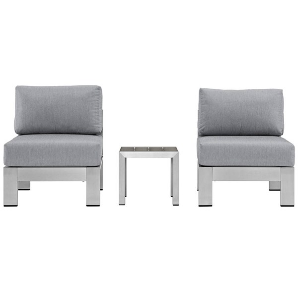 Modway Furniture Shore Silver Gray 3pc Outdoor Set with Armless Chair EEI-2598-SLV-GRY