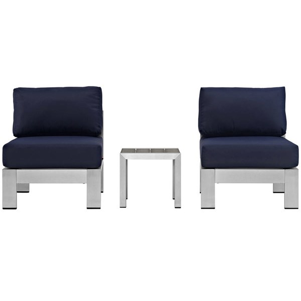 Modway Furniture Shore Silver Navy 3pc Outdoor Set with Armless Chair EEI-2598-SLV-NAV