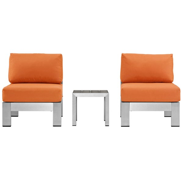 Modway Furniture Shore Silver Orange 3pc Outdoor Set with Armless Chair EEI-2598-SLV-ORA