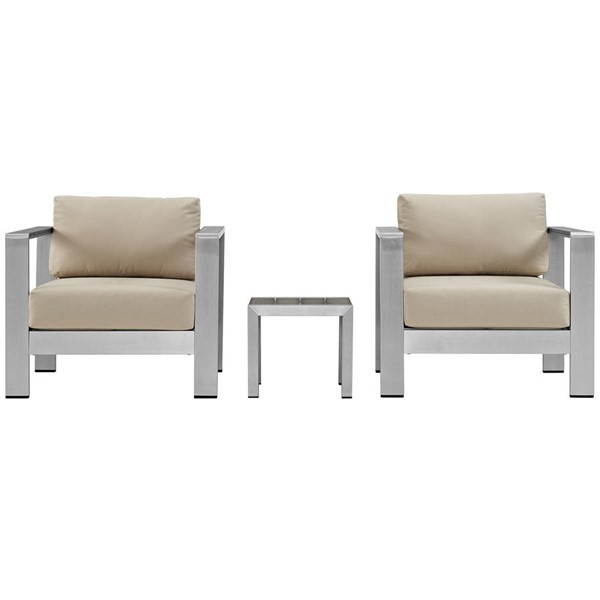 Modway Furniture Shore Silver Beige 3pc Outdoor Set with Arm Chair EEI-2599-SLV-BEI