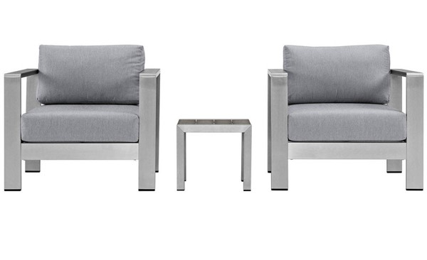 Modway Furniture Shore Silver Gray 3pc Outdoor Set with Arm Chair EEI-2599-SLV-GRY