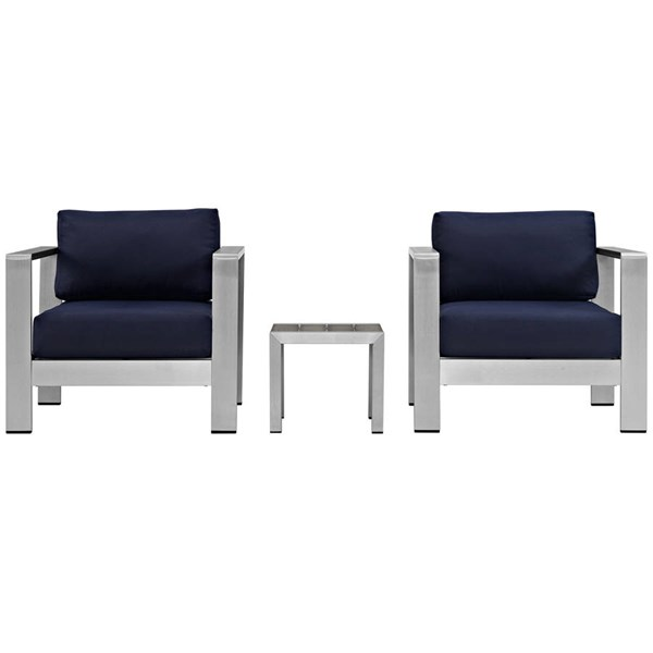 Modway Furniture Shore Silver Navy 3pc Outdoor Set with Arm Chair EEI-2599-SLV-NAV