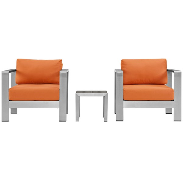 Modway Furniture Shore Silver Orange 3pc Outdoor Set with Arm Chair EEI-2599-SLV-ORA