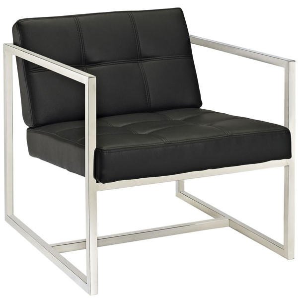 Hover Modern Black Steel PU Lounge Chair EEI-263-BLK