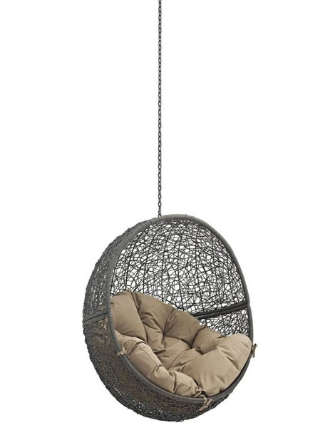 Modway Furniture Hide Gray Mocha Outdoor Swing Chair Without Stand EEI-2654-GRY-MOC