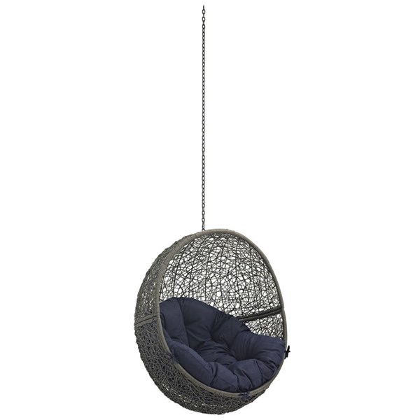 Modway Furniture Hide Gray Navy Outdoor Swing Chair Without Stand EEI-2654-GRY-NAV