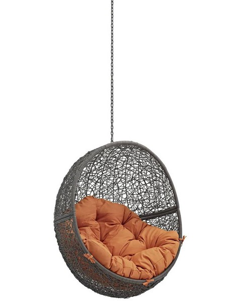 Modway Furniture Hide Gray Orange Outdoor Swing Chair Without Stand EEI-2654-GRY-ORA