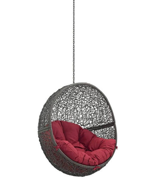 Modway Furniture Hide Gray Red Outdoor Swing Chair Without Stand EEI-2654-GRY-RED