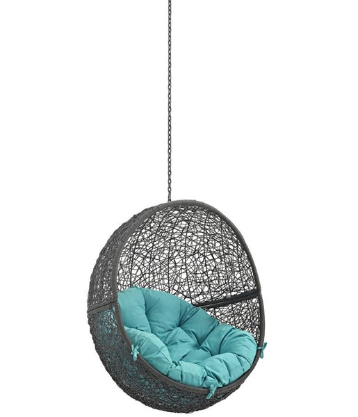 Modway Furniture Hide Gray Turquoise Outdoor Swing Chair Without Stand EEI-2654-GRY-TRQ