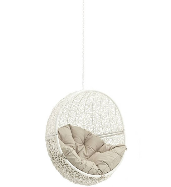 Modway Furniture Hide White Beige Outdoor Swing Chair Without Stand EEI-2654-WHI-BEI