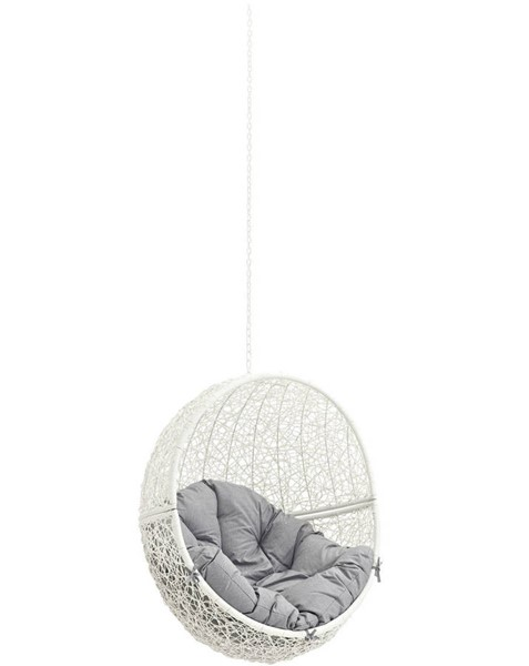 Modway Furniture Hide White Gray Outdoor Swing Chair Without Stand EEI-2654-WHI-GRY