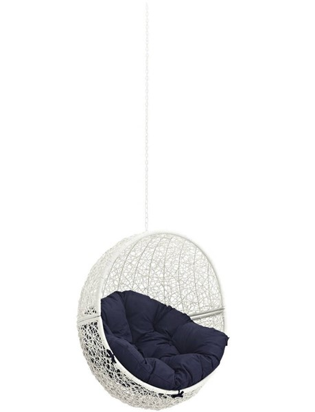 Modway Furniture Hide White Navy Outdoor Swing Chair Without Stand EEI-2654-WHI-NAV