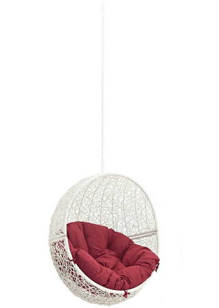 Modway Furniture Hide White Red Outdoor Swing Chair Without Stand EEI-2654-WHI-RED