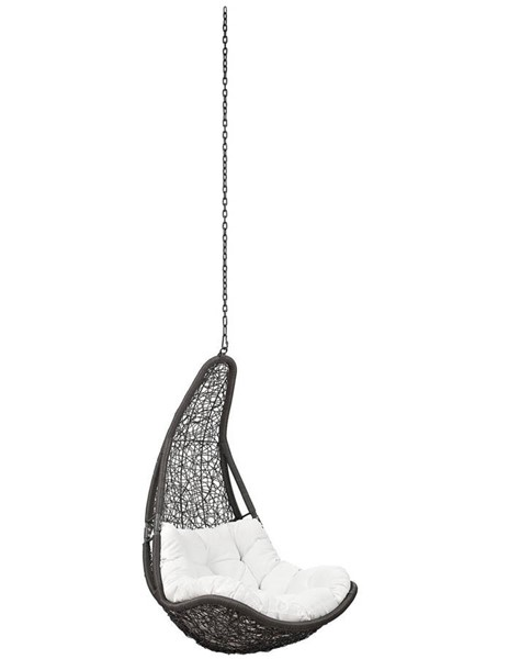Modway Furniture Abate Gray White Outdoor Patio Swing Chair Without Stand EEI-2657-GRY-WHI-SET