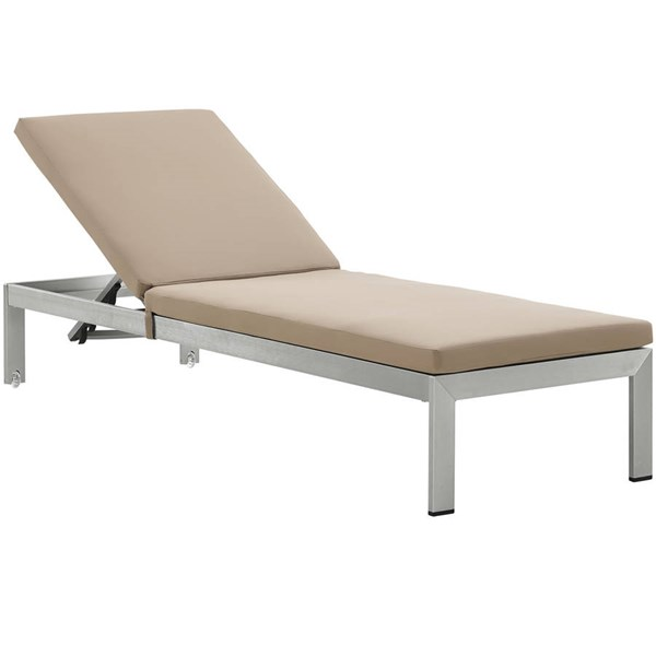 Modway Furniture Shore Silver Mocha Outdoor Chaise with Cushion EEI-2660-SLV-MOC