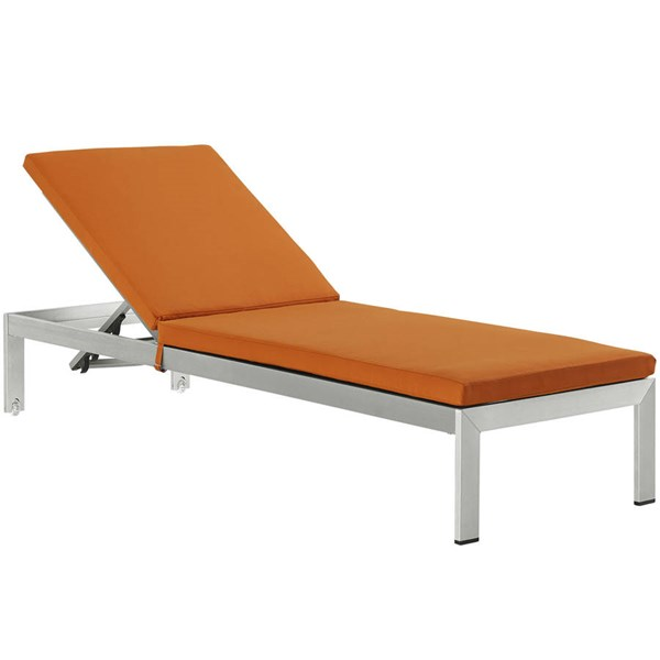 Modway Furniture Shore Silver Orange Outdoor Chaise with Cushion EEI-2660-SLV-ORA