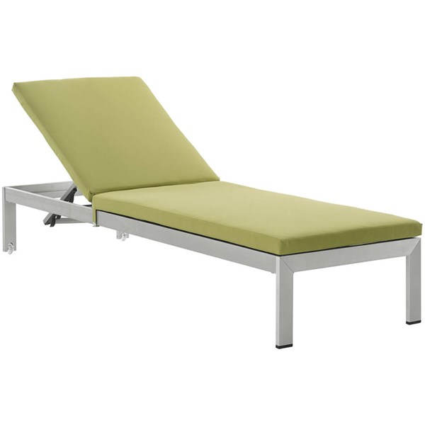 Modway Furniture Shore Silver Peridot Outdoor Chaise with Cushion EEI-2660-SLV-PER