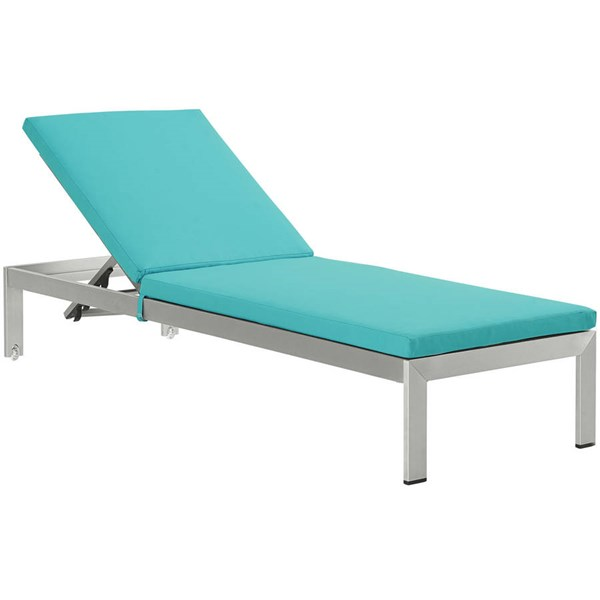 Modway Furniture Shore Silver Turquoise Outdoor Chaise with Cushion EEI-2660-SLV-TRQ