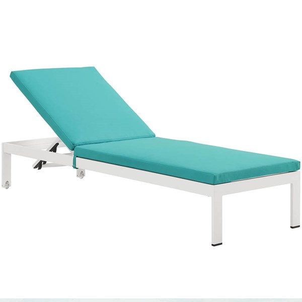Modway Furniture Shore White Turquoise Outdoor Chaise with Cushion EEI-2660-WHI-TRQ