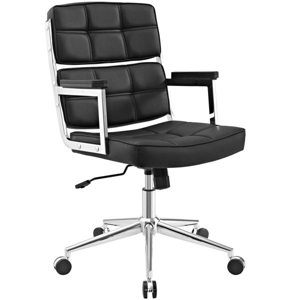 Modway Furniture Portray Black Upholstered Vinyl Office Chairs EEI-2685-HOF-CH-VAR