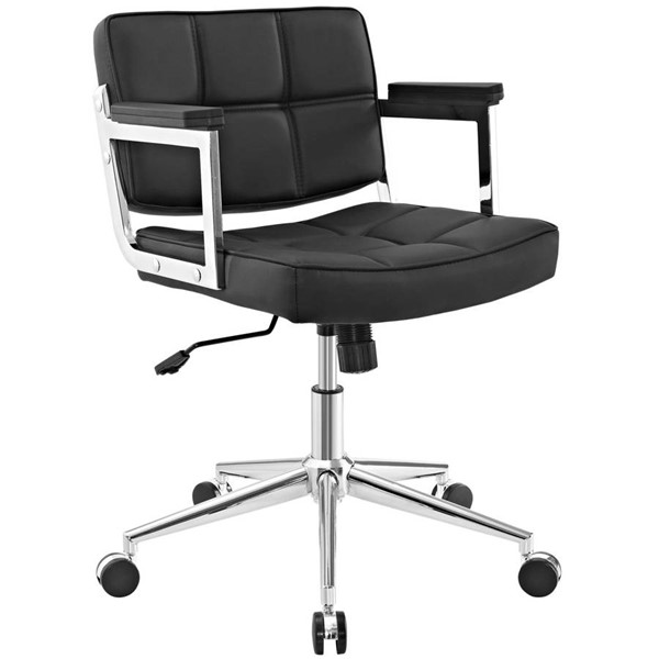 Modway Furniture Portray Black Mid Back Upholstered Vinyl Office Chairs EEI-2686-HOF-CH-VAR