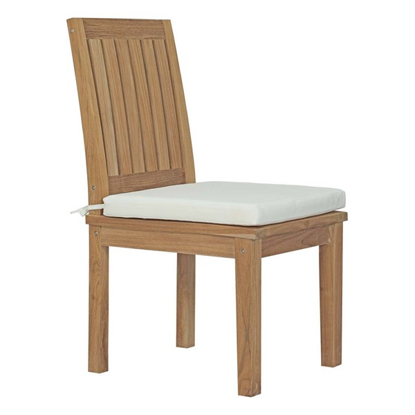 Modway Furniture Marina White Outdoor Patio Teak Dining Chair EEI-2700-NAT-WHI