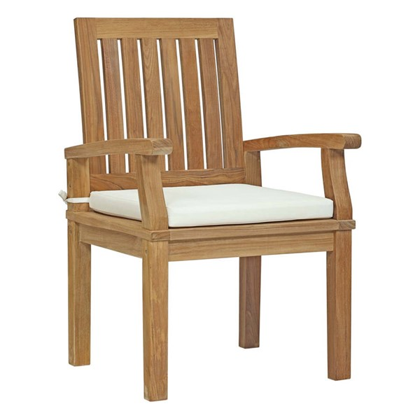 Modway Furniture Marina White Outdoor Patio Teak Dining Chair EEI-2701-NAT-WHI