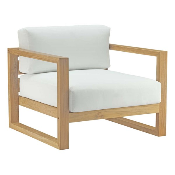 Modway Furniture Upland White Outdoor Patio Teak Armchair EEI-2706-NAT-WHI