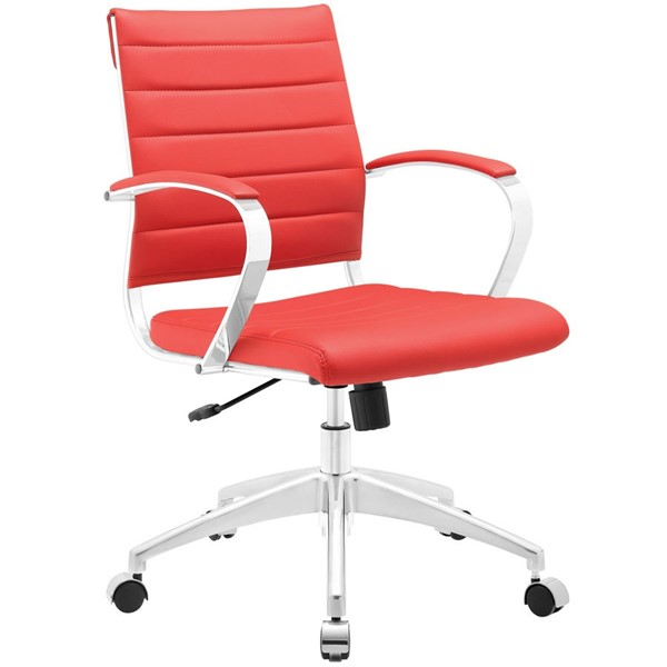 Jive Modern Red Vinyl Aluminum Mid Back Office Chair EEI-273-RED