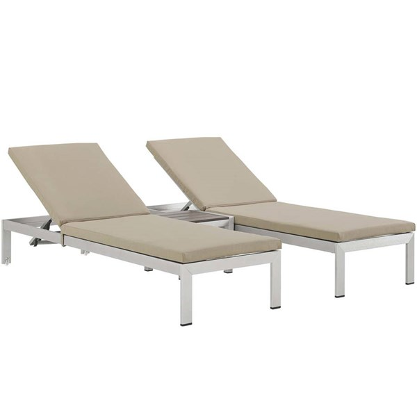 Modway Furniture Shore Silver Beige 3pc Outdoor Chaise with Cushion EEI-2736-SLV-BEI-SET