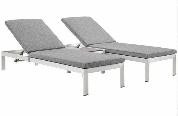 Modway Furniture Shore Silver Gray 3pc Outdoor Chaise with Cushion EEI-2736-SLV-GRY-SET