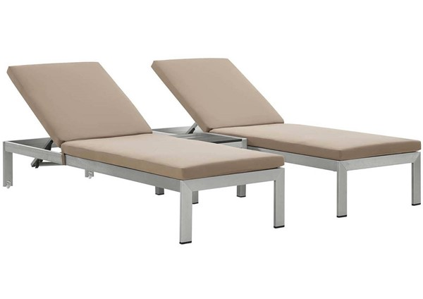 Modway Furniture Shore Silver Mocha 3pc Outdoor Chaise with Cushion EEI-2736-SLV-MOC-SET