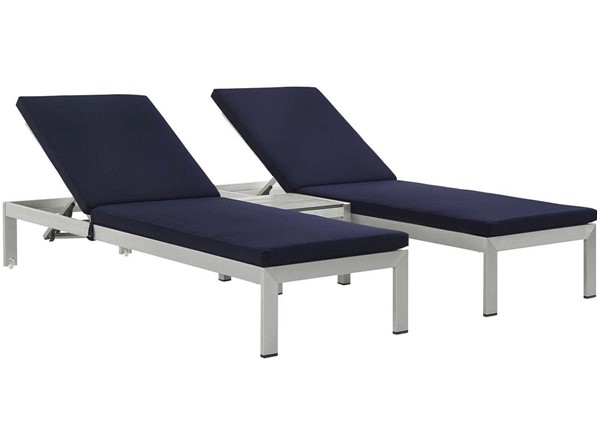 Modway Furniture Shore Silver Navy 3pc Outdoor Chaise with Cushion EEI-2736-SLV-NAV-SET
