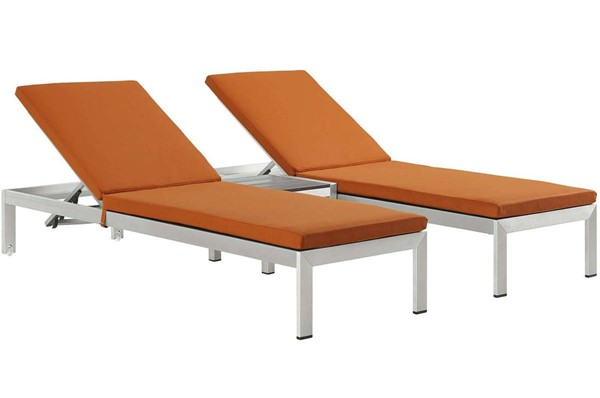 Modway Furniture Shore Silver Orange 3pc Outdoor Chaise with Cushion EEI-2736-SLV-ORA-SET