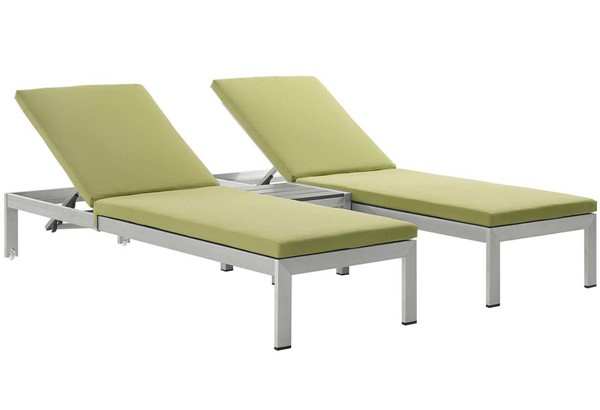 Modway Furniture Shore Silver Peridot 3pc Outdoor Chaise with Cushion EEI-2736-SLV-PER-SET