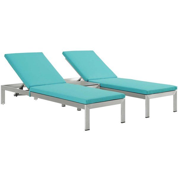 Modway Furniture Shore Silver Turquoise 3pc Outdoor Chaise with Cushion EEI-2736-SLV-TRQ-SET