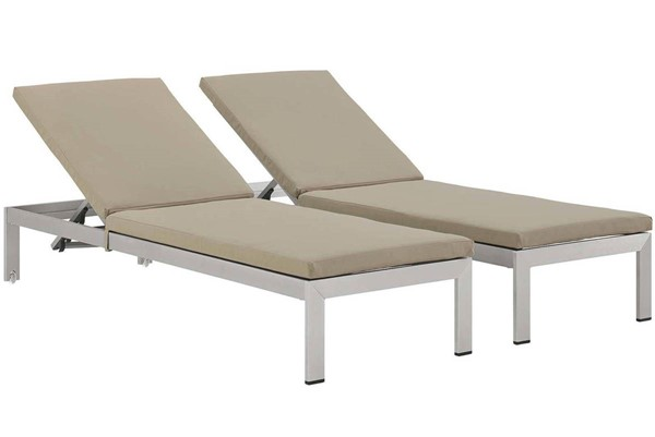 2 Modway Furniture Shore Silver Beige Outdoor Chaise with Cushion EEI-2737-SLV-BEI-SET