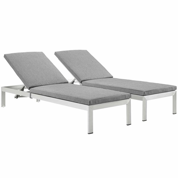 2 Modway Furniture Shore Silver Gray Outdoor Chaise with Cushion EEI-2737-SLV-GRY-SET