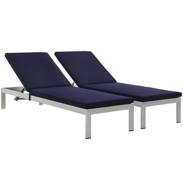 2 Modway Furniture Shore Silver Navy Outdoor Chaise with Cushion EEI-2737-SLV-NAV-SET