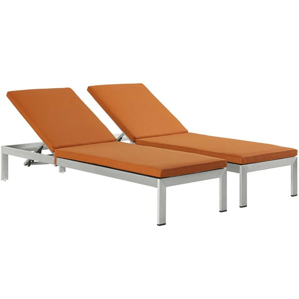 2 Modway Furniture Shore Silver Orange Outdoor Chaise with Cushion EEI-2737-SLV-ORA-SET