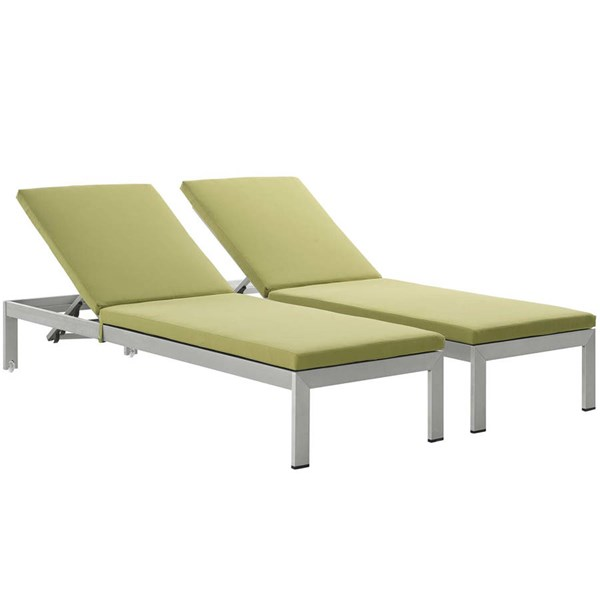 2 Modway Furniture Shore Silver Peridot Outdoor Chaise with Cushion EEI-2737-SLV-PER-SET