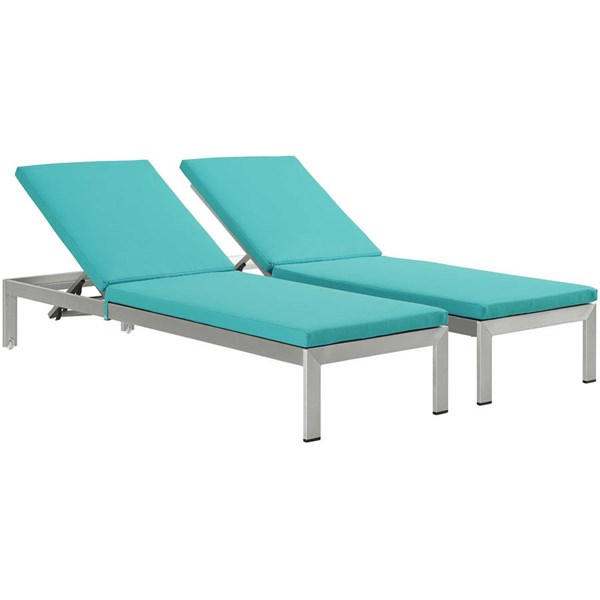 2 Modway Furniture Shore Silver Turquoise Outdoor Chaise with Cushion EEI-2737-SLV-TRQ-SET
