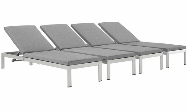 4 Modway Furniture Shore Silver Gray Outdoor Chaise EEI-2738-SLV-GRY-SET