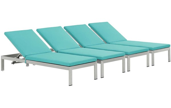 4 Modway Furniture Shore Silver Turquoise Outdoor Chaise EEI-2738-SLV-TRQ-SET