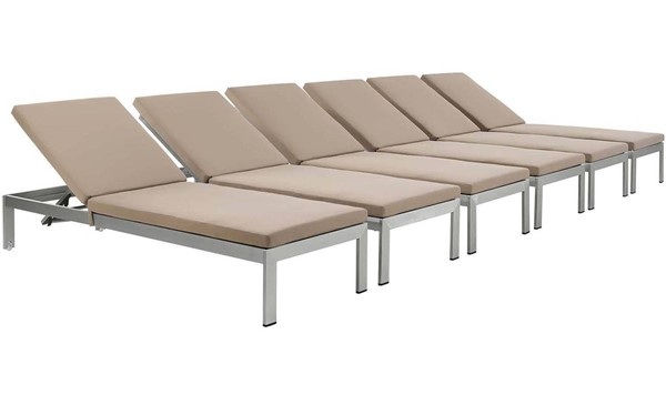 6 Modway Furniture Shore Silver Mocha Outdoor Chaise with Cushion EEI-2739-SLV-MOC-SET