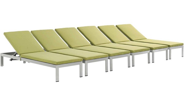 6 Modway Furniture Shore Silver Peridot Outdoor Chaise with Cushion EEI-2739-SLV-PER-SET