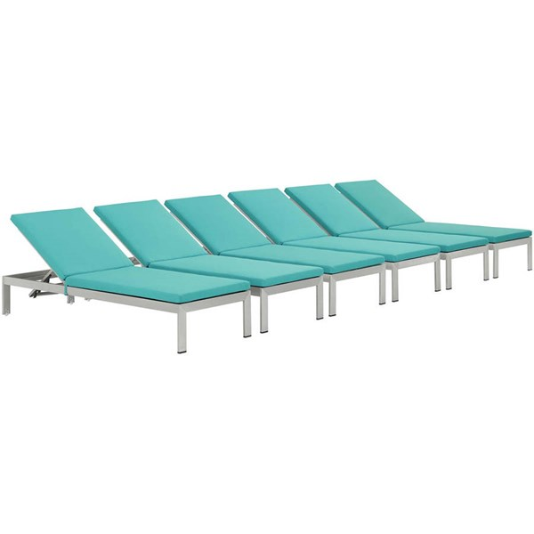 6 Modway Furniture Shore Silver Turquoise Outdoor Chaise with Cushion EEI-2739-SLV-TRQ-SET