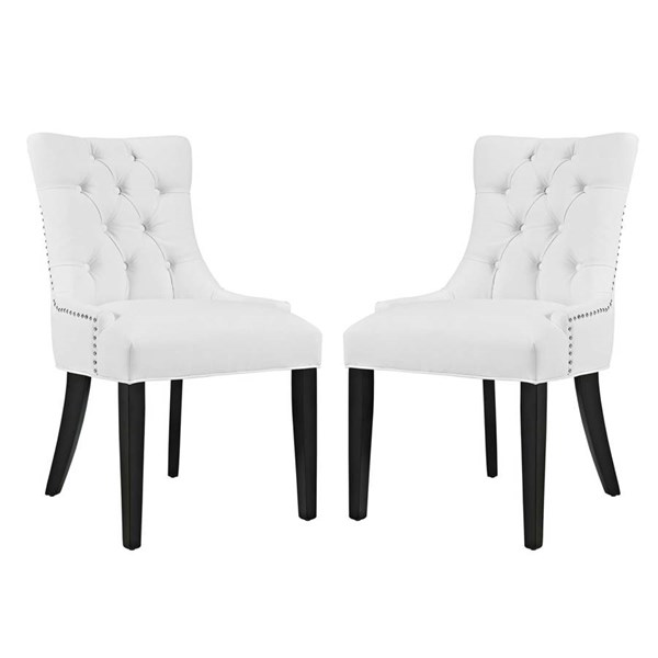 2 Modway Furniture Regent Vinyl Dining Side Chairs EEI-2742-WHI-SET